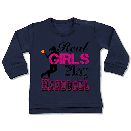 Sport Baby - Real Girls Play Handball - 12-18 Monate - Navy Blau - BZ31 - Baby Pullover