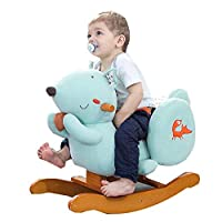 YUMEIGE Rocking Horses Boy&girl Rocking Animal Squirrel,Animal Riding Rockers & Ride-ons 12.9 × 19.6 × 23.6inch,Wood Ride-On Rocker Children