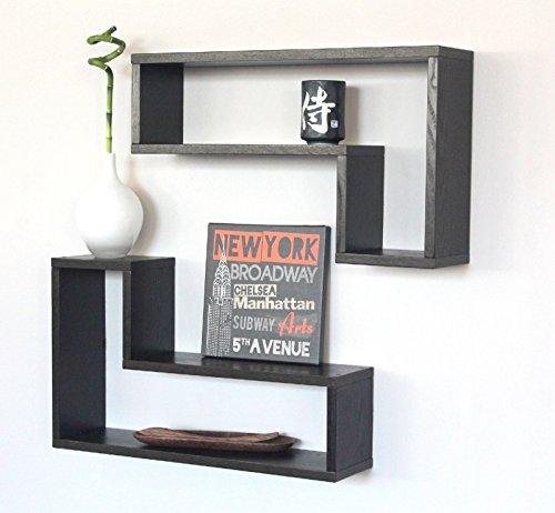 2 étagères design en bois Salon Chambre Marron Wenge elle mais