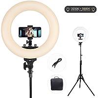 Ring Light,ESDDI Aro de Luz 14 Pulgadas,Anillo de luz Bi-Color 3200k-5500k,Kit con Soporte de Luz y Zapata para Cámara Smartphone Youtube Vine y Video Selfie