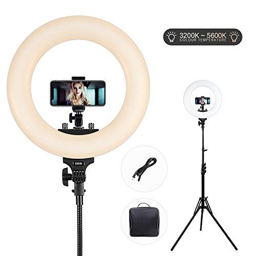 Ringlicht, ESDDI 14 Zoll LED dimmbare Ring Licht Bi-Color 3200k-5500k Kit mit Licht Stand und Hot Shoe für Portrait Youtube Video, Vlog und Make-up