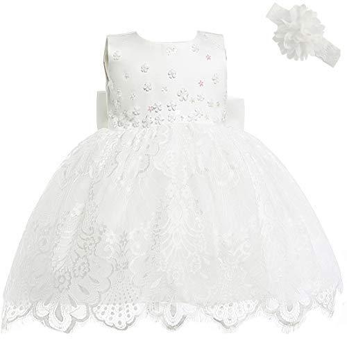 AHAHA Baby Mädchen Prinzessin Kleid Blumenmädchenkleid Taufkleid Festlich Kleid Hochzeit Partykleid Festzug Babybekleidung -