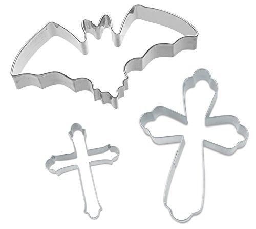 Caleidolex Ausstechset Halloween 'Spooky 11' Grusel 3er-Set - Fledermaus - Kreuz groß - Kreuz klein - Keksausstecher - Ausstecher - Ausstechform