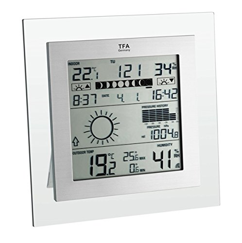 TFA Square Plus - Estación meteorológica C, 1,5V, Color transparente/gris, 18,8 cm, 3,4 cm, 18,8...