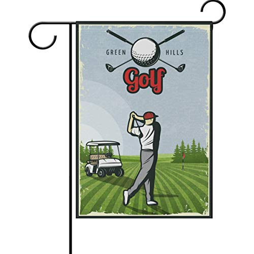 ASKYE Going Golfing Green Hills Double Sided Garden Yard Flag, Play Golf Club Tee Time Decorative Garden Flag Banner for Outdoor Home Decor Party(Size: 12.5inch W X 18 inch H)