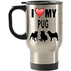 I Love My Pug Gifts–CARLINO amante de viaje de acero inoxidable aislado taza de vasos