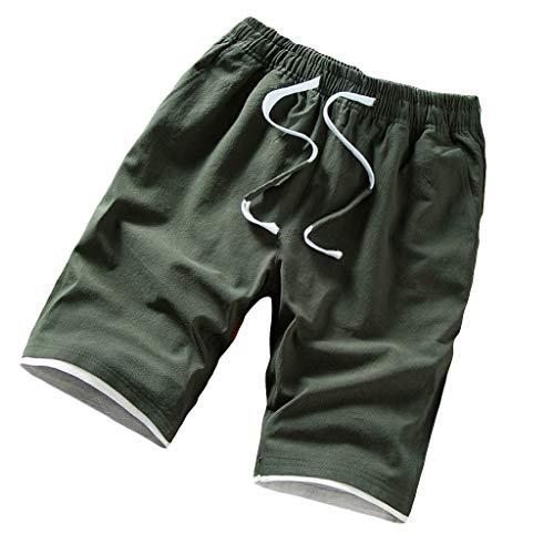 Leinen Baumwolle Shorts Männer Dasongff Herren Leinenshorts Kurze Leinenhose Bermuda Mit Kordel Regular Fit Sommer Solid Beach Casual Elastische Taille Klassische Passform Hosen -
