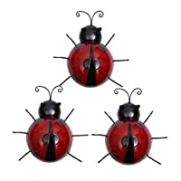 Vosarea 3pcs Iron Ladybug Metal Animal Hanging Wall Art Hanger Indoor Outdoor Garden Home Decoration(Random Color)
