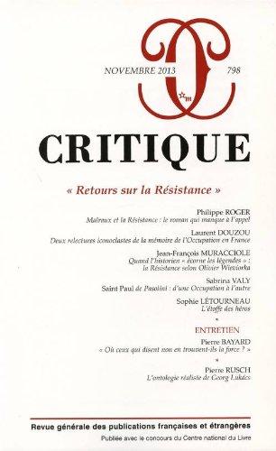 Critique, N 798, Novembre 2013 : Retours sur la Rsistance