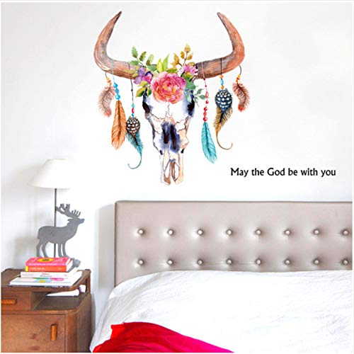 Cczxfcc 60 X 66 Cm Hand Bemalt Horn Feder Schlafzimmer Wohnzimmer Wandaufkleber Kreative Wasserdicht Abnehmbar
