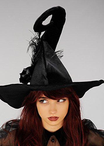 Sombrero de bruja negro de lujo Deluxe para mujer