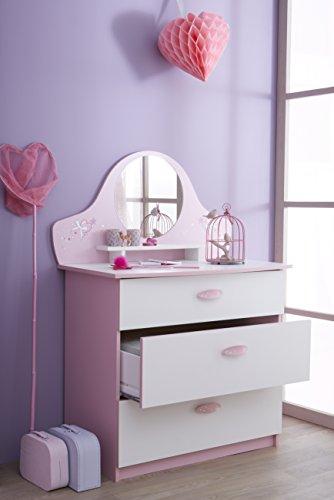 Demeyere 365471 Kommode mit 3 Schubladen und 1 Spiegel Papillon, 84.7 x 97.2 x 50.1 cm, orchidee / weiß