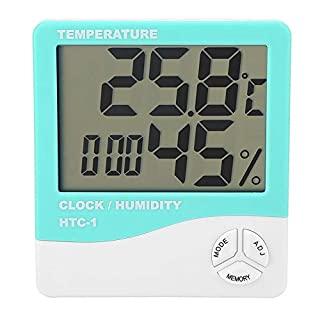 ANENG HTC-1 LCD Digital Thermometer Hygrometer, Indoor Temperature Humidity Meter Clock for Nursery Home Office 3 Colors Blue Green Orange(Green)