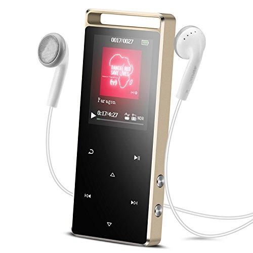AGPTEK A01- Lettore MP3 8 GB con Radio FM e Banda Braccio, Metallizzato con Pulsanti di Tocco, Supporta Memory Card Fino a 128 GB, Colore Nero