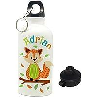 Trinkflasche mit Name, Fuchs, für Kinder, geeignet für Kita, Kindergarten oder als Geschenk zur Einschulung, zum Geburtstag, zu Weihnachten oder zu anderen Gelegenheiten.