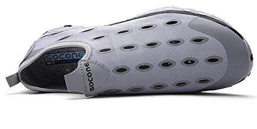 YIRUIYA Herren Wasserschuhe Slip on Aquaschuhe Lässig Walking Schuhe Schwimmschuhe Bootsportschuhe Grau