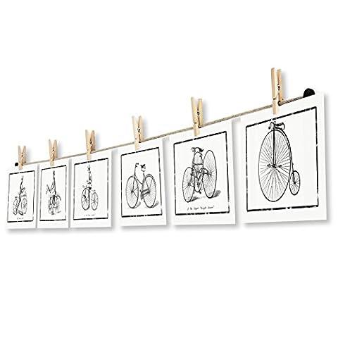 LeTOMA - Corde-photos avec pinces à linge-montage rapide et facile sur un mur pour une belle et créative décoration - 150 cm de corde en chanvre naturel et 12 crochets en bois naturel pour mettre vos photos et cartes postales dans la lumière - Couleur: brun