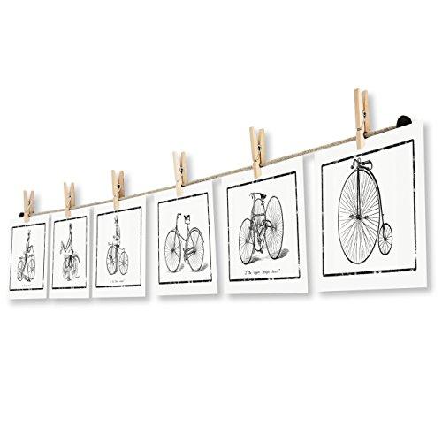 LeTOMA - Fotoseil 100 cm mit 8 Klammern inklusive patentierter Seilhalter ideal um Fotos und Postkarten schnell aufzuhängen - Fotoleine aus hochwertigem Naturhanf - Handmade in Germany