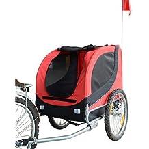 Remolque Bicicleta Perros Mascota 1 Bandera 6 Reflectores Remolque Bici Rojo Negro