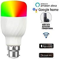 MENGZHEN 1 Bombilla LED B22 Smart WiFi 2700 K-6500 K luz de día cálida y Bombillas de Color Regulables Funciona con Alexa y Google Assistant