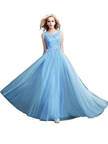Beauty-emily perla maxi a-line lace-up senza maniche lunghe see through sera madre della sposa abiti colore azzurro, eu40 size