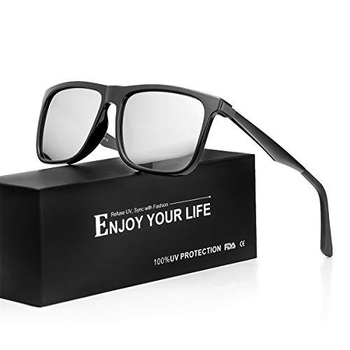 TJUTR Sonnenbrille Herren Verspiegelt Polarisierte Metall Rahme Ultra Leicht100% UV Schutz Fahren Sonnenbrille (Schwarz/Silber(verspiegelt))