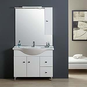 Mobile bagno 105 cm classico con lavabo specchio e pensile for Mobile pensile bagno