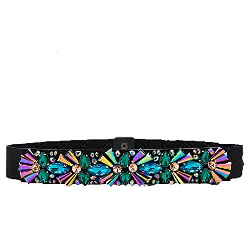 JEOSNDE Damen Freizeitgürtel Handbesetzte Angelschnur Perlen Praktischer Gürtel mit dunklem Knopf und Strass-Elastikgürtel (Color : Multi-Colored, Size : 68CM*3.8CM)