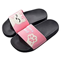QZBAOSHU Family Slippers for Women/Men/Boys/Girls Summer Cute Cat Slides Sandals on Beach Bathroom Swimming Pool 3.5 UK (Label Size 36) Pink(Summer Style)