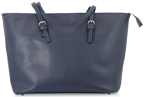 StilGut® Shopper borsa in saffiano made in italy Blu