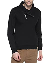 Campus Sutra Mens Cotton Sweatshirt ( AW15_HCWL_M_PLN_BL_XL _ Black _ XL )