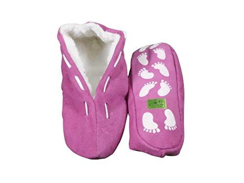 Echtleder / Veloursleder Hausschuhe mit Fell Innenfutter Mokassins Pantoffeln ABS-Stopper ab Gr: 35 (sch44) 42 lila (Hausschuhe Mokassin Lila)