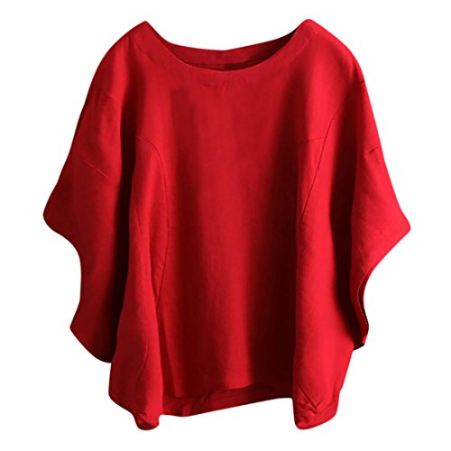 IMJONO Damen Frauen Unregelmäßige Mode Solid Kurzarm Hemd Vintage Bluse (EU-46/CN-3XL, Rot)