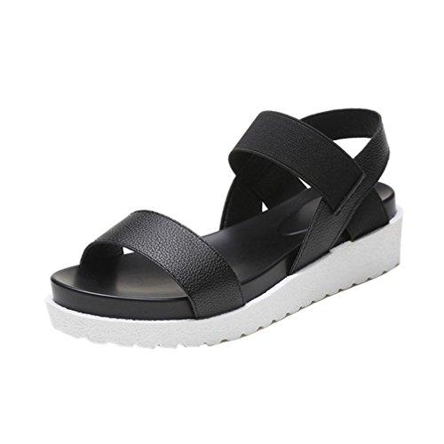 Uomogo® sandali estivi scarpe con sandali donna , ragazze infradito scarpe basse aperte sandali da donna (asia 37, nero)