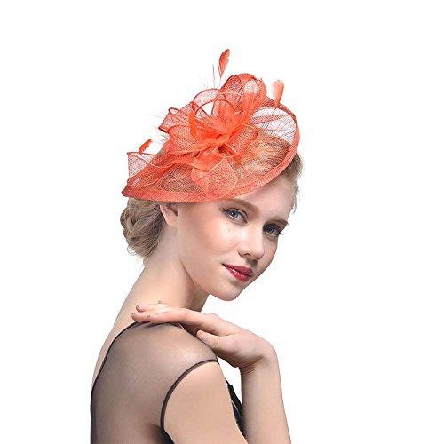 d19bf206692 JasmineLi Sinamay Fascinator Hat Tea Party Hats Pillbox Hat Derby Hat for  Women - Buy Online in Oman.