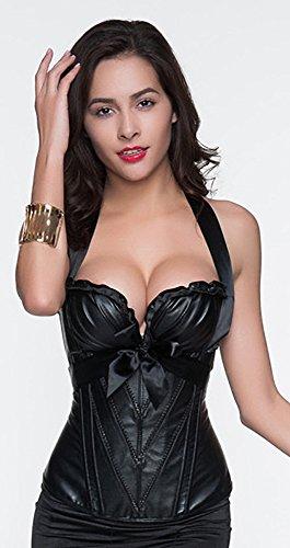 r-dessous sexy Damen Corsagentop schwarz Corsage Shirt Top Lack Korsett Bustier Corset Gothic Dessous Groesse: 6XL - 5