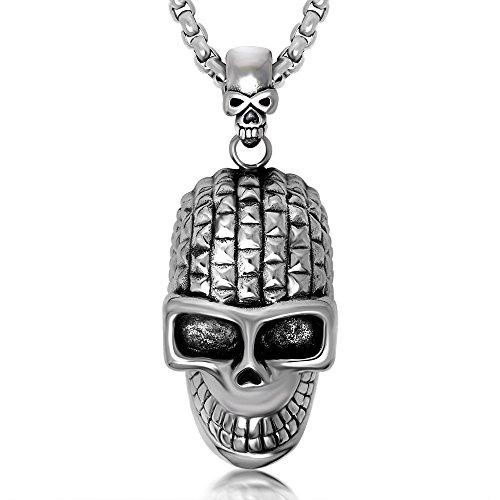 delstahl Skull Head Halloween Halskette Anhänger Kette 61cm (Halloween Halsketten)