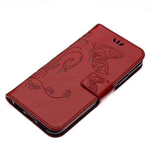 EUWLY Case Cover per iPhone X Custodia Portafoglio PU Pelle Cover Lanyard Pelle Wallet Premium Morbido PU Leather, Goffratura Farfalla e Fiore, Portafoglio Flip Con Silicone TPU Case Chiusura Magnetic Rosso