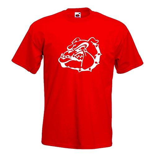 KIWISTAR - Bulldoggen Symbol - Kampfhund T-Shirt in 15 verschiedenen Farben - Herren Funshirt bedruckt Design Sprüche Spruch Motive Oberteil Baumwolle Print Größe S M L XL XXL Rot
