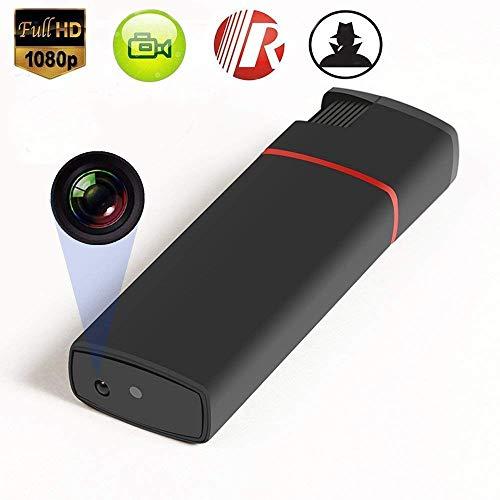 Encendedor, Camara espía Oculta HD 1080 USB Video Grabador Lente con Audio, función mechero Fuego Real, SD 32 GB Soporte. Color Negro y Azul. (Negro)