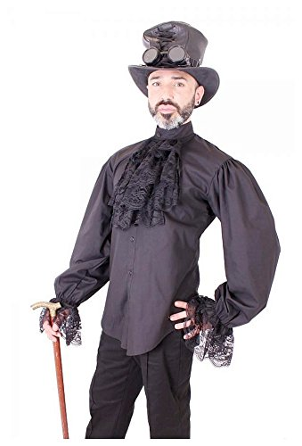 size-xl-black-austin-dandy-steampunk-mens-shirt-with-lace-ruffle-and-cuffs