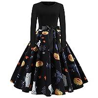 فستان BASIC MODEL نسائي طويل الأكمام كوكتيل سوينغ هالوين مطبوع أزياء الحفلات التنكرية JY13057 XXL