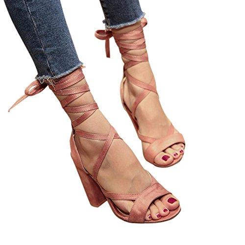 Sandalen Damen, Sonnena Frauen Damen Sandalen Knöchel High Heels Block Party offene Zehen Schuhe PU/Solid/außen/quadratischer Absatz/Knöchelriemen/Knöchel/Klassiker (Sexy Rosa, 39)