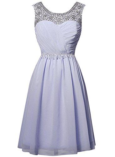 Azbro Women's Beautiful Rhinestone Round Neck Short Cocktail Dress Light Blue
