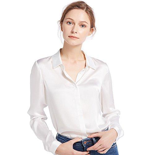 LILYSILK Damen Hemdbluse Seide Sommerliche Damenbluse Shirt mit Verdeckter Knopfleiste von 22 Momme (Brillantweiß, S) (Aus S/s Bluse Seide)