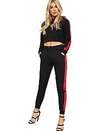 WearAll Women's Long Sleeve Hooded Crop Top Sweatshirt Jogging Bottoms New Loungewear Set 6-14