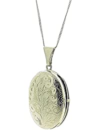 TOC Sterling Silver Engraved 25mm Oval Family Locket Necklace 18""