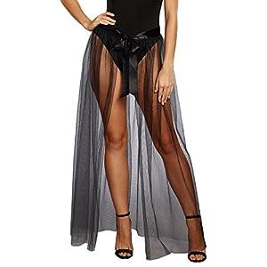 DreamGirl-10831Sheer Tie Front falda, pequeño/mediano