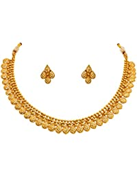 Jfl - Jewellery For Less Traditional Ethnic One Gram Gold Plated Designer Necklace Set With Earrings For Women