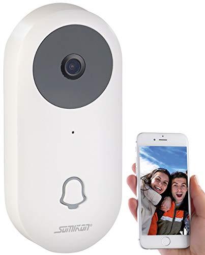 Somikon Sprechanlage: WLAN-HD-Video-Türklingel mit App, Gegensprechen, 156°-Bildwinkel, Akku (Klingel mit Kamera)